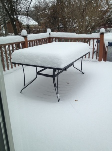 Snow on table