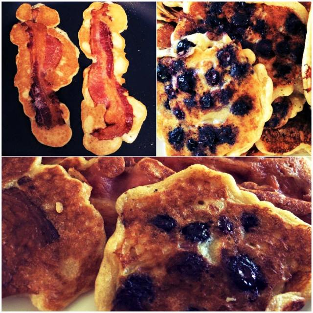 Father's Day Breakfast Meal Paleo Blueberry Pancakes and Bacon Pancakes