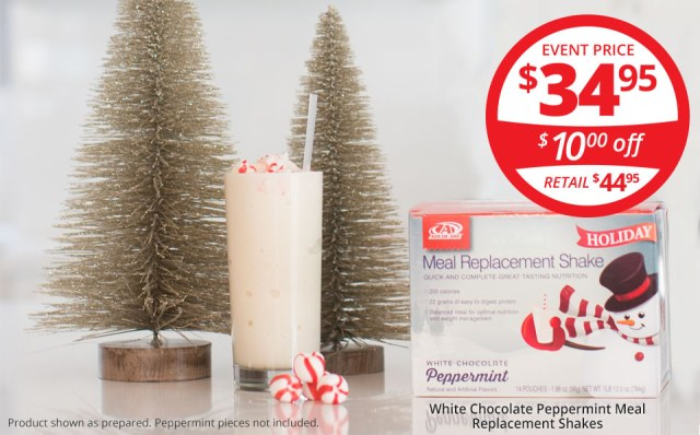 AdvoCare White Chocolate Peppermint Meal Replacement Shakes Cyber Monday